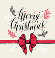 calligraphic text merry christmas with snowflakes vector image