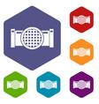 drain pipe icons set hexagon vector image