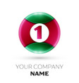 realistic number one symbol in colorful circle vector image
