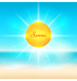 Beach and tropical sea with bright sun vector image