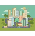 City Landscape with Buildings Cars and Roads vector image
