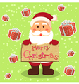 Santa Merry Xmas Gift in Green vector image