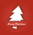 christmas card paper pocket with white tree vector image