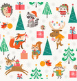 cute christmas woodland pattern with happy vector image