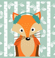fox on background of birch trees vector image