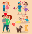 happy adult couple in love feeling emotions vector image
