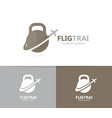 sport and airplane logo combination gym vector image