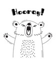 with joyful bear who shouts - hooray vector image