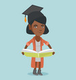 young african-american graduate holding a book vector image