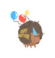 cute cartoon hedgehog in a blue party hat and vector image