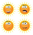 cartoon sun icons emotions vector image