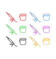 Icon Set of Sealer and Bucket vector image