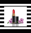 red lip stick mock up cosmetics card vector image