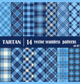 Set Tartan Seamless Pattern in blue tone vector image