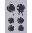 Wax seals black templates set vector image