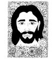 zentangl Portrait of Jesus in vector image