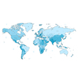 Light blue detailed World map vector image