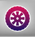 road tire sign  purple gradient icon on vector image