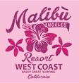Malibu surfing with hibiscus vector image vector image