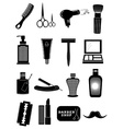 Saloon barbershop icons set vector image