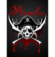 Pirates theme with skull and swords vector image