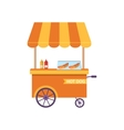 Flat Icon Cart of Hot Dog Isolated on White vector image