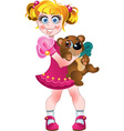 Girl in pink dress with teddy bear vector image vector image