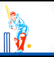 colorful cricket player hit the big ball sketch vector image