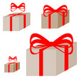ligth brown present box with the red ribbon vector image