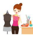 woman measuring mannequin body shape vector image