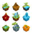 fantasy isometric islands with vulcans different vector image