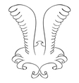 tattoo Frame with wings Black contour vector image