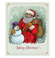 vintage christmas hand draw poster with Santa vector image