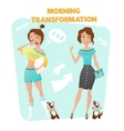 Morning Girl Transformation Poster vector image