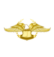Eagle and badge symbol for logo and emblem design vector image