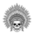 Hand Drawn Skull in zentangle Feathered War bonnet vector image