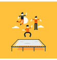 Jumping kids on trampoline vector image