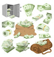 money stack of dollar or currency cash vector image