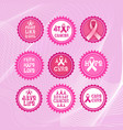 pink ribbon breast cancer awareness icons set vector image