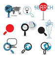 Search Icons Magnifying Glasses Set with World Map vector image