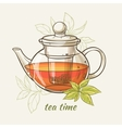 tepot with green tea leaves vector image