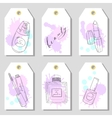 Hand drawn cosmetics set of gift tags Beauty and vector image