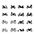 motorcycle and bicycle transport icons vector image
