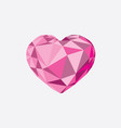 low poly crystal bright pink heart vector image
