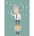 Business man working as a team to grab the money vector image vector image