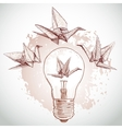 Origami paper cranes and light sketch line on vector image