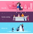 Parenthood 3 flat horizontal banners set vector image