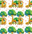 Seamless giraffes in the forest vector image vector image