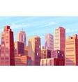 beautiful sunshine over cartoon city vector image