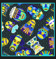 blue psychedelic bandana with masks pattern vector image